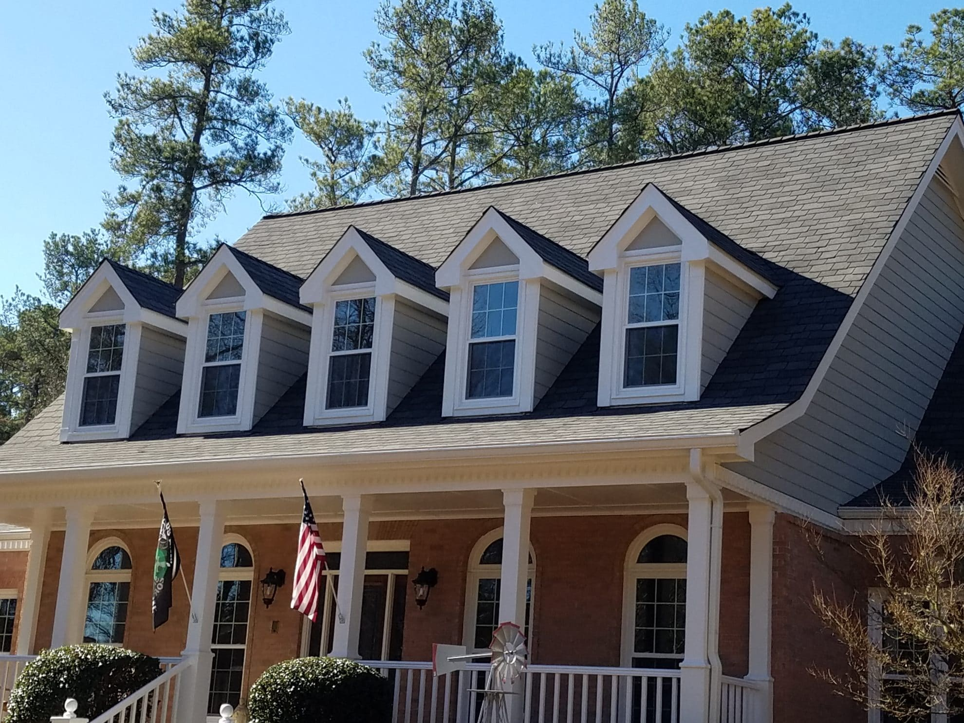 front of a house with seamless gutters
