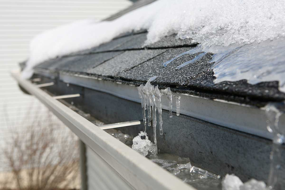 ice on the roof.