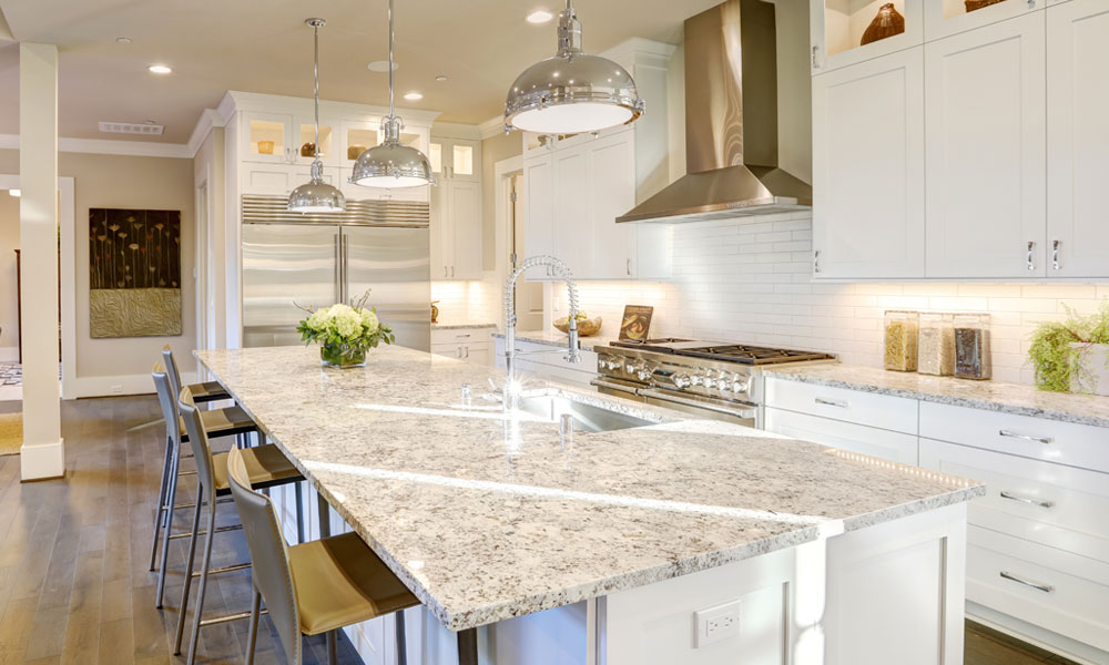 modern kitchen with marble countertops